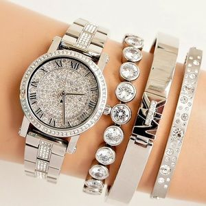 NWT Michael Kors petite silver pave watch